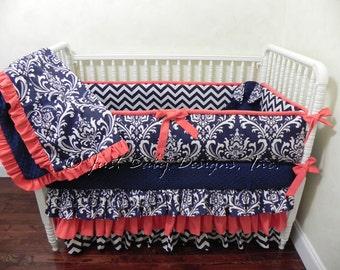 Baby Girl Crib Bedding Set Danielle - Girl Baby Bedding, Navy and Coral Crib Bedding, Ruffle Crib Skirt, Custom Nursery Bedding