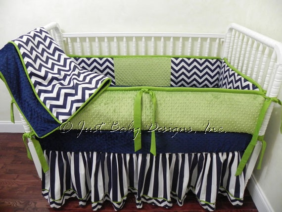 Custom Baby Bedding Set Kerry Navy Chevron And Stripes With
