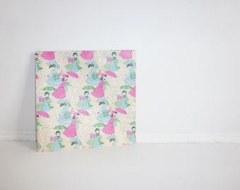 Vintage Ladies-With-Umbrellas Wrapping Paper