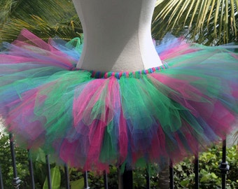 Adult Tutu - Green, Antique Blue and Fushia