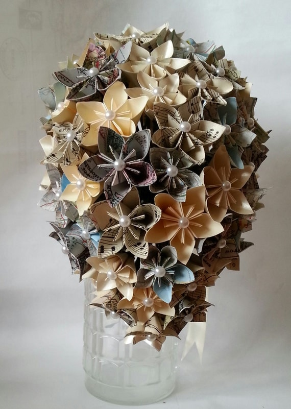 paper flower origami paper bouquet wedding vintage maps music