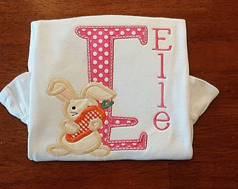 Easter  Applique Shirt, Easter personalized outfit, Girls Easter Outfit, Bunny Outfit, Easter Bunny Outfit, Girls Easter shirt, Personalized