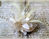 """Large Ivory  Flowers with Tulle, Feathers, Pearl Sprays, and Lace approx. 7.50"""" Including Tulle (Flower Alone Is 5"""") FL-135"""