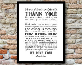 Wedding Thank You to Friends and Family - 8x10 - you choose the colors