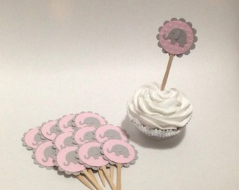 elephant baby shower - elephant favors - elephant cupcake toppers - elephant decorations - elephant party - baby shower pink elephant