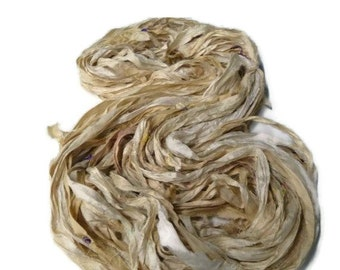 Premium Recycled Sari Silk Ribbon, Gold/Champagne