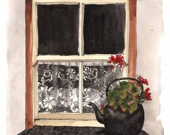 Window Art - Bunratty Geraniums II - Fine Art Watercolor Print - Bunratty County Clare Ireland Geranium Tea Kettle