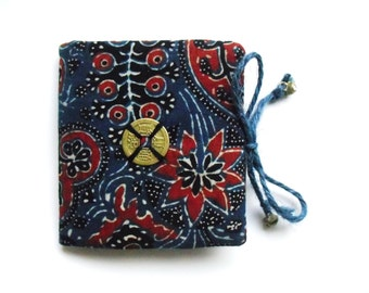 Indigo Needle book, blue needle case, boho needle book, seamstress gift, sewing tool, perfect gift for crafter, handmade gift for her