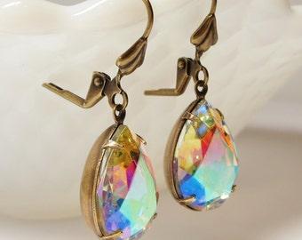 Crystal AB Aurora Borealis Glass Earrings Dangles Rhinestone Drops Glass Jewel Earrings Estate Style Old Hollywood Bridal Wedding Jewelry
