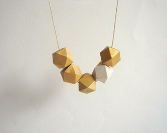 Gold and White Geometric Necklace ,Handpainted Wood Geometric Necklace,Geometric Jewelry