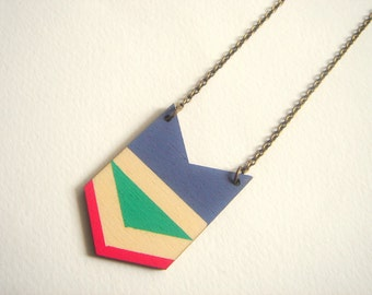 Chevron Necklace, Wood Geometric Necklace, Hand Painted  Wood Necklace,Geometric Jewelry