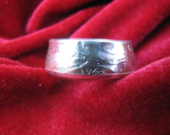 COIN RING made from a 1943 Walking Liberty Half Dollar, A NEW unsized Mens / Mans ring 73 year old American 90% silver coin