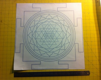 "10"" x 10"" sri yantra decal sticker sacred geometry"
