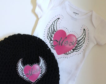 Baby Clothes Girls I Love Mom, Baby Gift Set, Cotton Onepiece and Matching Beanie, Monogrammed and Perfect for Mother's Day or Any Day