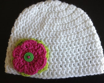 Crochet white hat with lime green and hot pink flower 6-12 months