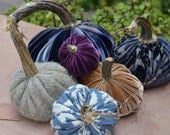 Plush Velvet Pumpkins with Real Stems, Silk Velvet, Cotton & Wool Knit, Set of 6, Centerpiece, Hostess Gift, Halloween - AbbeyTina