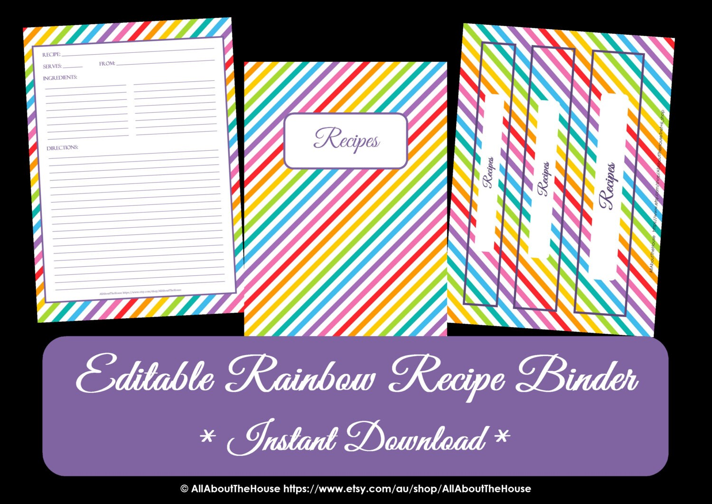 EDITABLE Rainbow Recip...1 1 2 Binder Spine Template