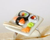 Sushi plate adjustable ring dollhouse food Polymer clay miniature food jewelry
