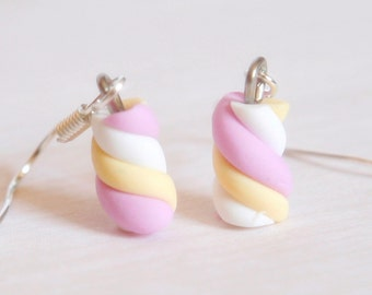 Marshmallow Miniature earrings polymer clay