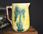 Majolica Pitcher pottery Antique Vinage creamer pitcher, Vintage yellow, green majolica