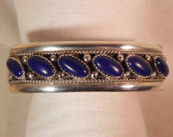 Vintage Cuff Bracelet Native American  With  Six Dark Lapis Settings Hallmarked Sterling Silver  and JS