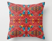 Geometric Crazy 2 Throw Pillow By Pencil Me In // Pastel Mint Yellow Teal Red Pink Pattern