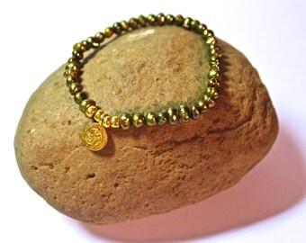 Yoga Bracelet - Gold Ohm Charm, meditation bracelet, Mala Beads Bracelet, Boho Spiritual Jewelry, Zen Jewelry