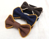 Toddler boys bow tie Corduroy bow tie with piping Bow tie coordinate with pants // Size 1-6 years Neck  size 25- 29 cm (9.8-11.4 Inch) - ZanziBach