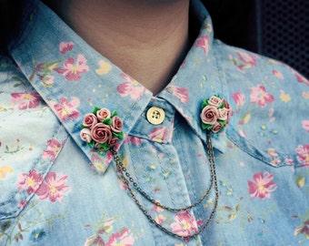 beige rose collar tips, collar brooch, handmade rose