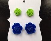 Pair of Blue and Green Rose Stud Earrings