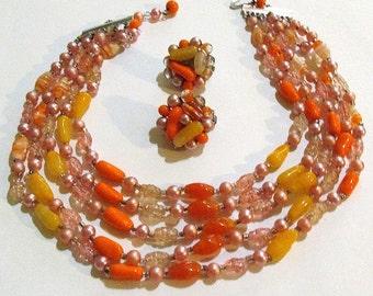 Vintage mid century antique orange multi color 5 strand glass bead NECKLACE and clip EARRINGS demi parure set