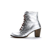 Lace up Silver Boots - SALE 40% OFF - Silver army boots - Silver Heel Boots - Handmade by ImeldaShoes