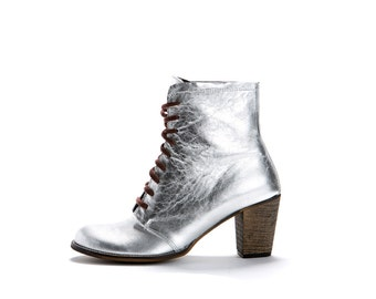 Sale! Lace up Silver Boots Silver boots - Silver Heel Boots - Handmade by ImeldaShoes
