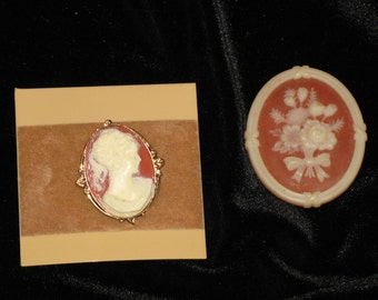 Cameo brooches  Set of two