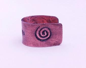 Copper Ear Cuff Stamped Spiral Triangle Crescent Aged Rustic Patina Antiqued Gemotica