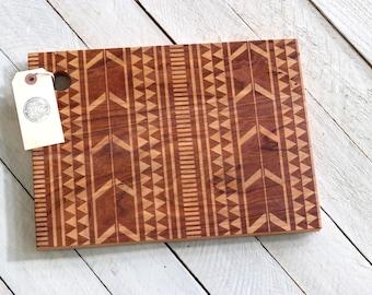 Tribal Design Cutting Board - Wood Engraved Modern Aztec Pattern
