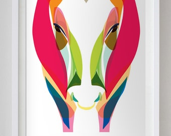 24x36 in Abstract Colorful Ox Poster