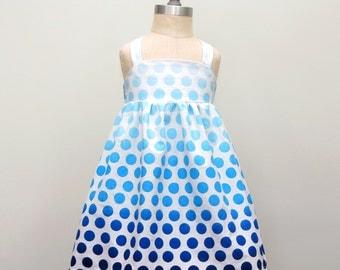 Girls Ombe Polka Dot Dress, Toddler Girls Boutique Dress, Preppy Polka Dots, Ombe Party Dress, Chic Girls Dress, Blue,