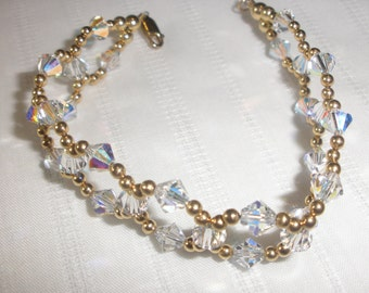 "7 1/2""  Crystal and Gold Endless Circle Bracelet"