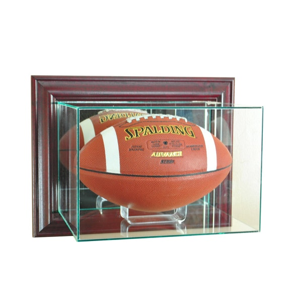 wall mounted football display case glass mirror uv new nfl. Black Bedroom Furniture Sets. Home Design Ideas