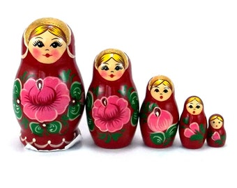 Nesting Dolls set 5 pcs Russian Matryoshka Babushka Stacking Wooden toy for kids Birthday gifts for mom buy online