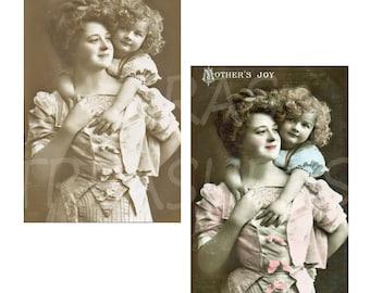 Vintage Style Mothers Joy Postcards Digital Images for card making or Crafts for mothers day