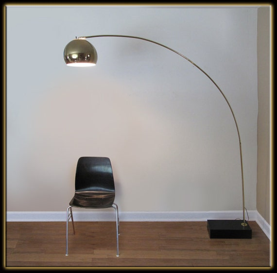 Mid Century Orb Lamp: Vintage 60s Mid Century Modern Modernist Gold Chrome Orb