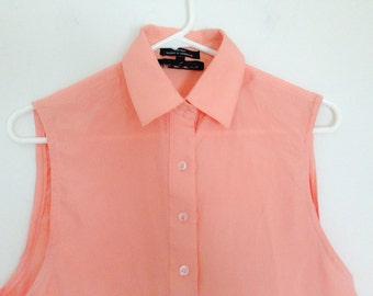 Women's silk sleeveless button up salmon top