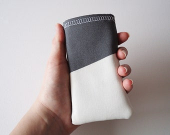 iPhone 5 and 5S cozy, grey and white block print phone sleeve