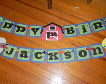 Farm Birthday Banner AND Name Banner