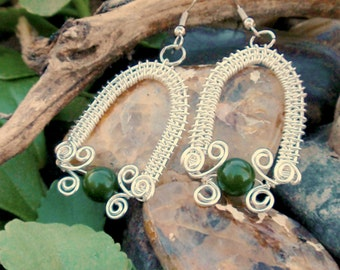 celtic arch green silver earrings. wire wrapped earrings. wire wrapped jewelry handmade