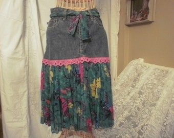 Upcycled Demin Skirt Recycled Jeans Bohemiam Hippy Style Skirt