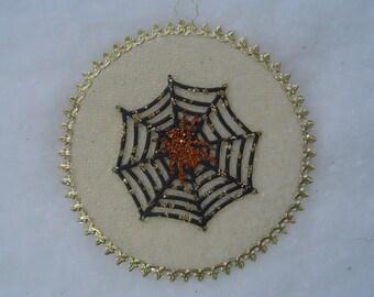 Glow-in-the-Dark Orange Glittered Spider Golden Web Dresden Halloween Tree Ornament