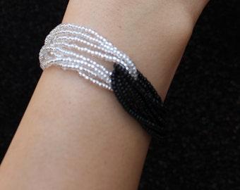 Black and white bracelet, silver bracelet, black bracelet, crystal bracelet, delicate bracelet, beaded bracelet, jet black bracelet, gift